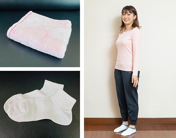 タオル1枚、動きやすい服装、靴下